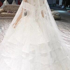 Image 4 - HTL822 מתוקה חתונת שמלות ארוכה רכבת אפליקציות תחרה כלה שמלות כדור שמלה עם צעיף vestidos דה novia 11.11 קידום