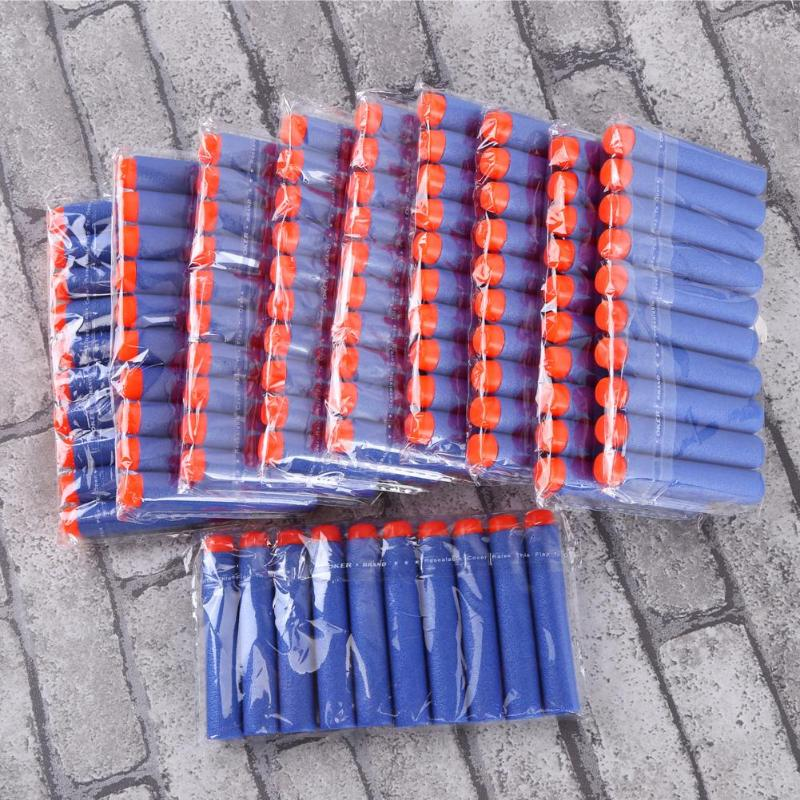 100pcs For Nerf Bullets EVA Soft Hollow Hole Head 7.2cm Refill Darts Toy Bullet For Toys Gun Accessories Xmas For Nerf Blasters