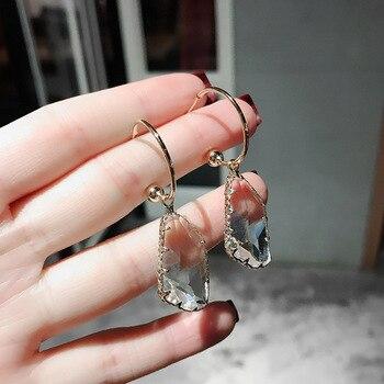 Koreański nowy projekt moda biżuteria białe przezroczyste nieregularne kryształowe kolczyki luksusowe proste wesele kolczyki dla kobiet