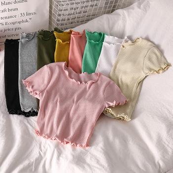OUMEA Rib Knit krótkie bluzki damskie z krótkim rękawem Rib Tshirts lato podstawowe sałata krawędź proste bluzy dla kobiet jednokolorowa na co dzień Slim Fit tanie i dobre opinie CN (pochodzenie) COTTON Topy Tees REGULAR Dzianiny Stałe TOP0077 WOMEN NONE Osób w wieku 18-35 lat O-neck