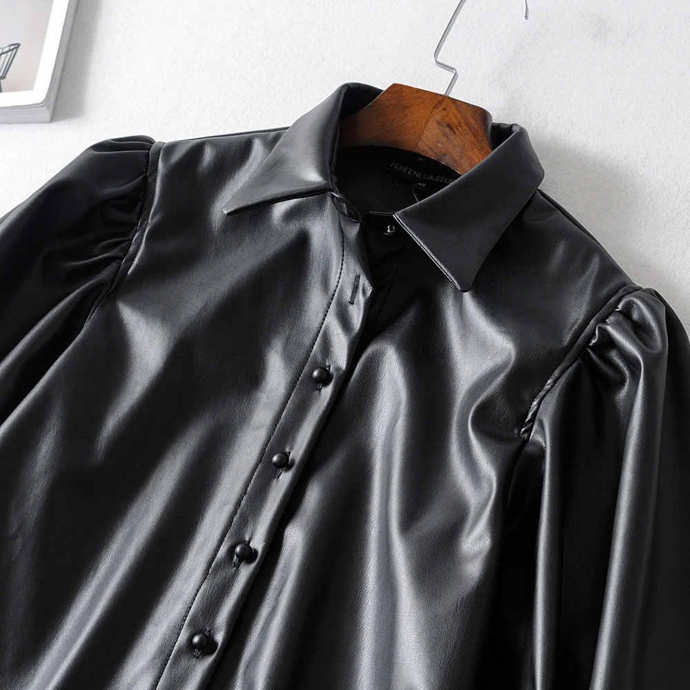 Осенняя меховая кожаная блузка из искусственной кожи женская рубашка больших размеров, черная панк с пышными рукавами, Женские топы и блузки в Корейском стиле, blusas 2019