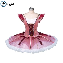 Burgundy ballet tutu for girls,red and white costume professional  dress BT9123