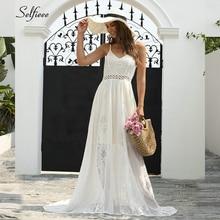 Fashion See Through Maxi Dresses For Women V-Neck Spaghetti Straps Elegant White Lace Sexy Summer Jurken Zomer
