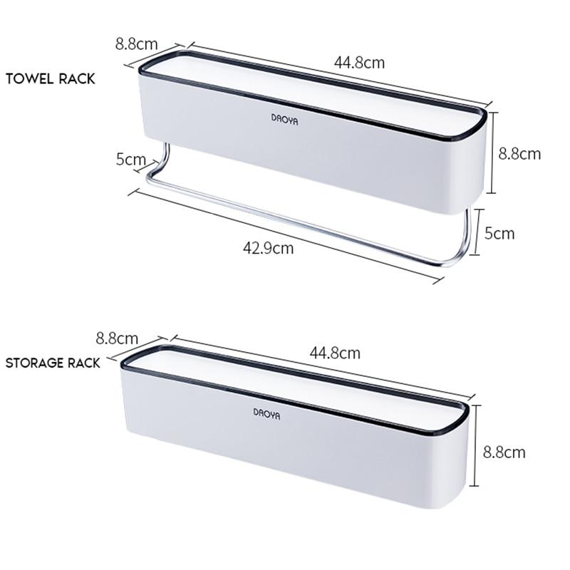 Bathroom Shelf Shower Caddy Organizer Wall Mount Shampoo Rack With Towel Bar No Drilling Kitchen Storage Bathroom Accessories 5