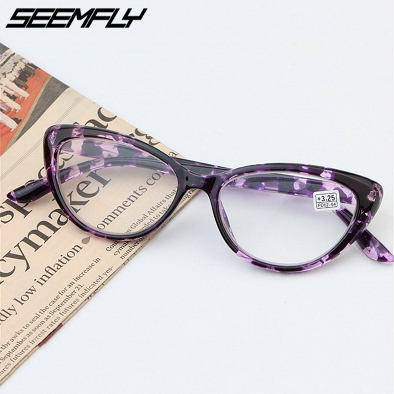 Seemfly Cat Eye <font><b>Reading</b></font> <font><b>Glasses</b></font> Women Eyeglasses Presbyopic 1.0 1.25 1.5 1.75 2.0 <font><b>2.25</b></font> 2.5 2.75 3.0 3.25 3.5 3.75 <font><b>Men</b></font> Eyewear image
