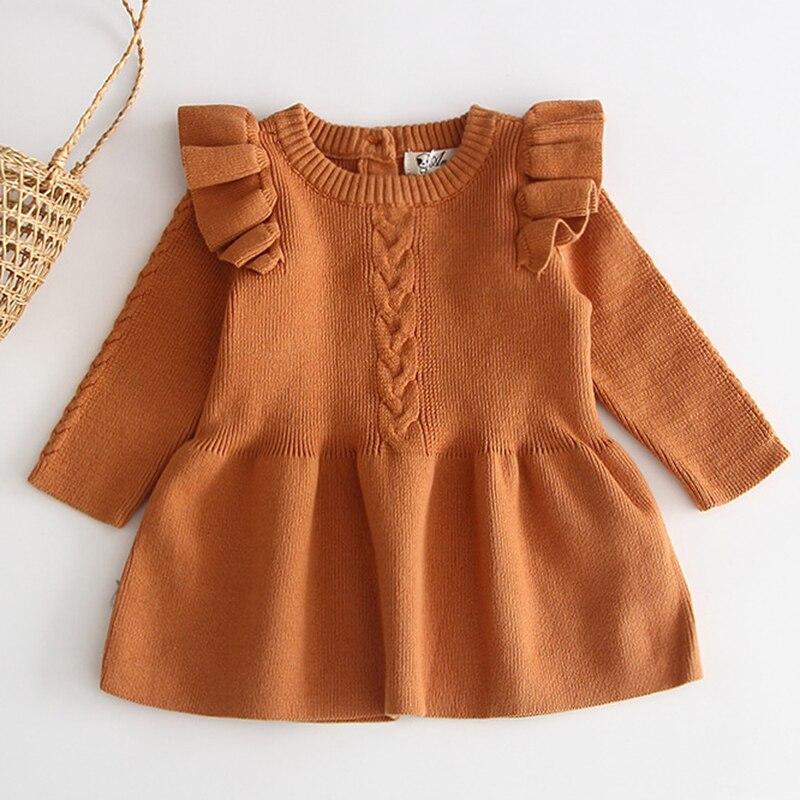 Winter Knitted Dress Autumn Toddler Girl Dresses For Female Babies Infant Warm Dress Knitted Sweater Kids Dresses For Girls 6