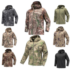 Image 3 - Military Tactical Jacket coat mens autumn Army Camouflage Waterproof jacket SoftShell man Windbreaker  Hooded Camo Hunt Clothes