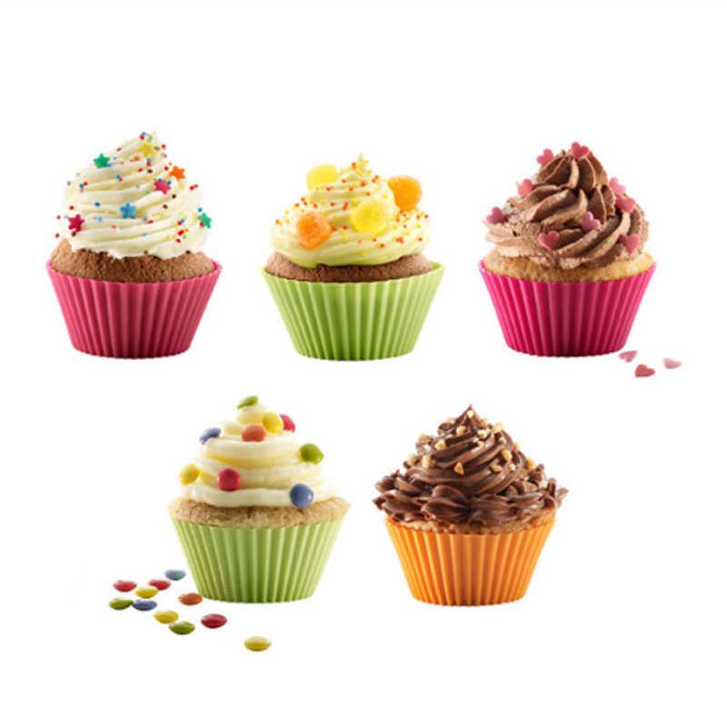 1/3/5 adet/takım parti tepsisi kek kalıp dekorasyon araçları Liner pişirme kek kalıbı kılıfı rastgele renk silikon kek kalıbı kek kalıpları