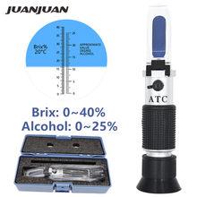 Hangheld Refractometer 0 ~ 40% Brix 0 ~ 25% Alcohol Wort Dichtheid Wijn Suiker Brix Tester Met Atc Doos 50% Off