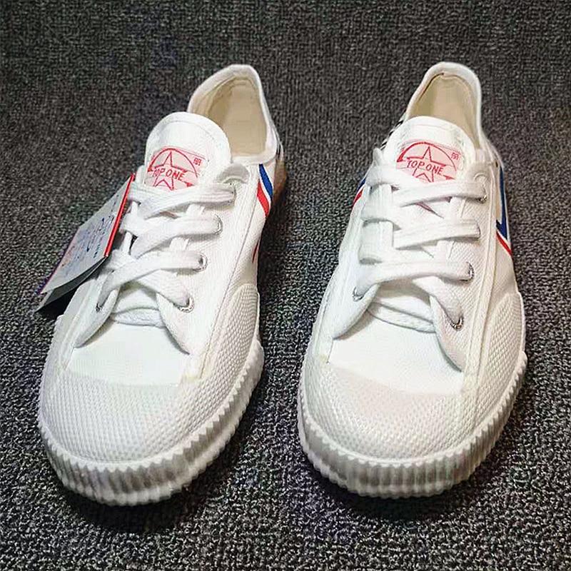 TOPONE Kung fu Shoes Martial arts Tai chi Taekwondo Wushu Karate Footwear Sports Training Sneakers Black and white