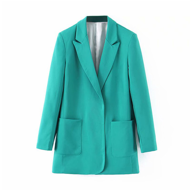 Fashion Turquoise Suit Blazer For Female Long Sleeve Notched Collar Female Blazer 2019 Autumn Elegant Ladies Work Tops