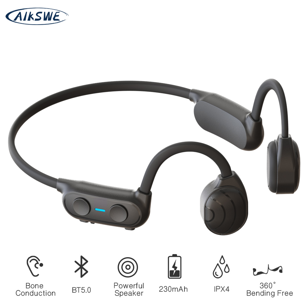 AIKSWE Bluetooth Wireless Headphones Bone Conduction Sports Earphones IP56 Headset Stereo Hands-free with microphone For Running 1