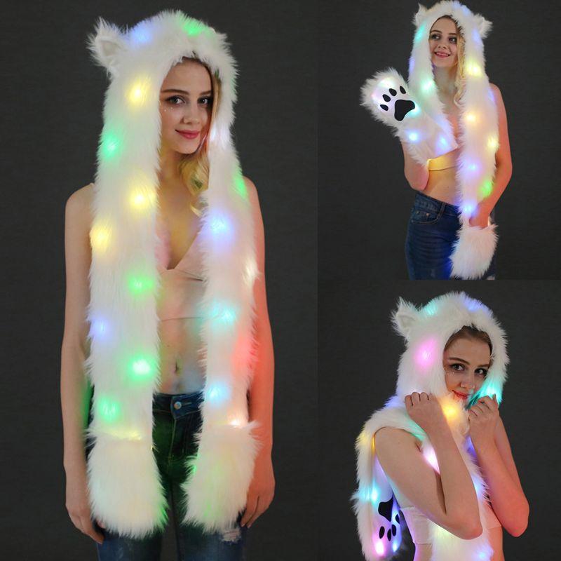 2020 New Unisex Fluffy Plush Wolf Animal Hat Scarf Gloves LED Flash 3 In 1 Hoodie Warmer