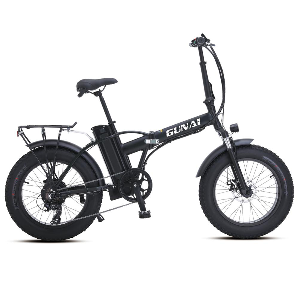 GUNAI Electric Bike 500W 20inch Folding Electric Snowbike with 48v15Ah Lithium Battery