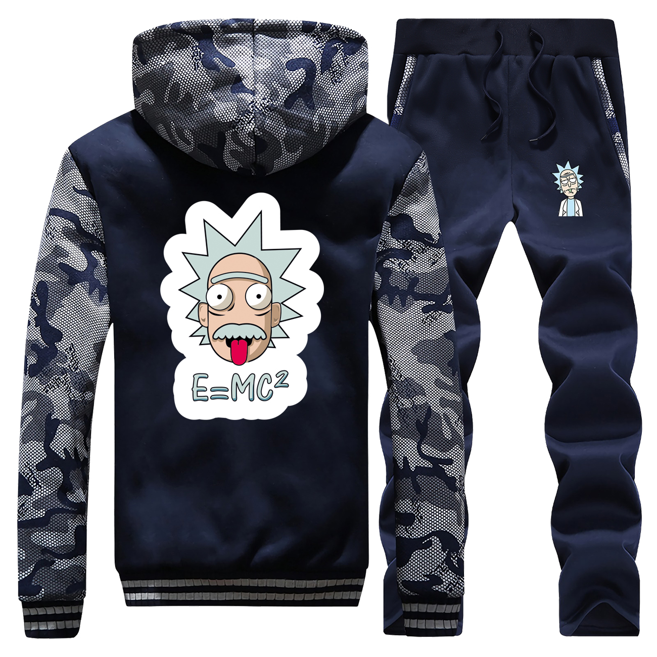 2019 Winter Hot Sale Rick And Morty Cartoon Streetwear Coat Thick Suit Warm Jackets Camouflage Fashion Hooded+Pants 2 Piece Set