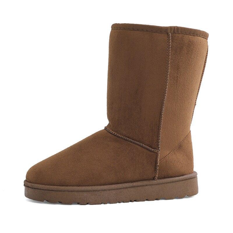 Women's winter mid-tube boots High-quality snow boots new brand design Plush fur Flat bottom warm boot
