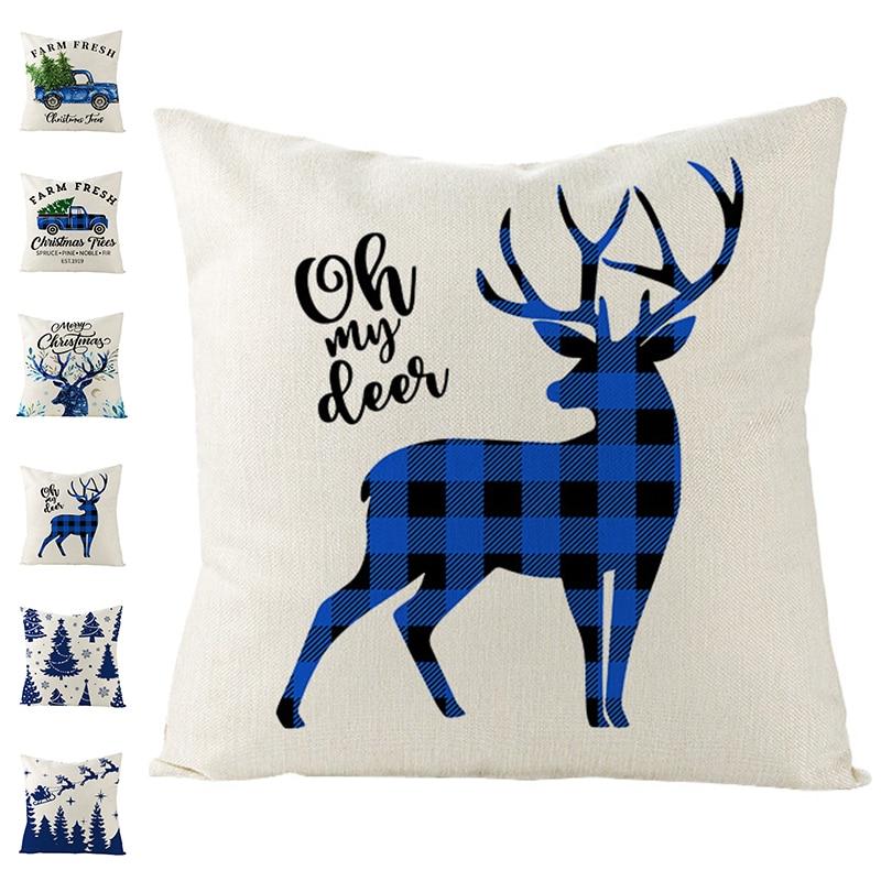 1PC Cotton Linen Pillowcase Christmas Sofa Cushion Cover Snowman Santa Deer Printed Bedroom Seat 2022 Xmas Home Decor