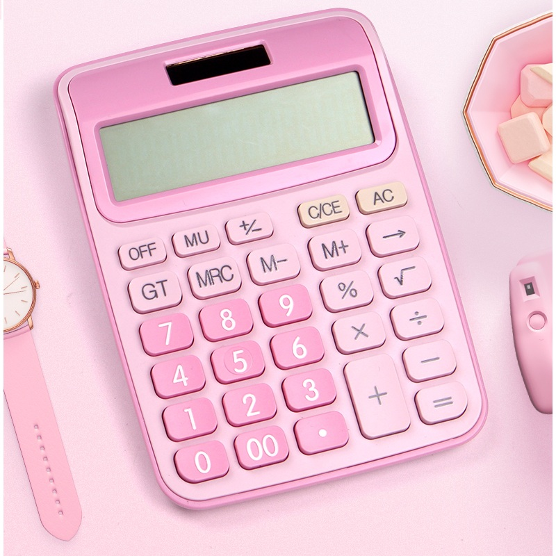12 Digit Desk Calculator Large Buttons Financial Business Accounting Tool Pink Blue Black big buttons battery and solar power image