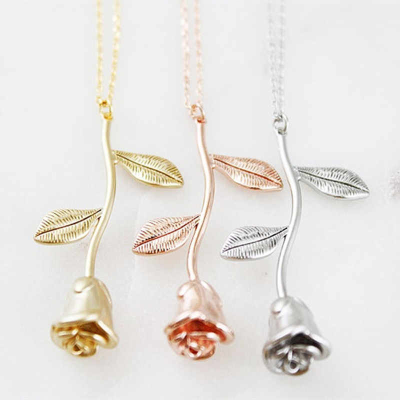 Silver Color Rose Necklaces Femme Flower Necklace Women Beauty And The Beast Gifts Stainless Steel Chain Fashion Jewelry 2019