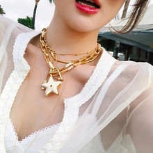 Net red Lin Necklace heart-shaped cable chain female Necklace Alloy party retro Pentagram Star Cable Chain Large Necklace цена 2017