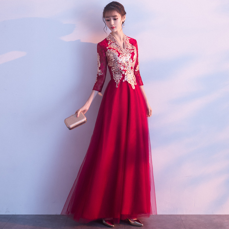 2020 Sale Gengli The Bride, 2020 New Autumn Chinese Style Is Contemporary Wedding Show Thin Engaged Long Evening Dresses Female