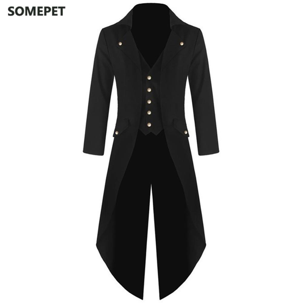 Men's Coat Steampunk Retro Tailcoat Jacket Long Sleeve Single Breasted Gothic Coat Men's Uniform Plus Size