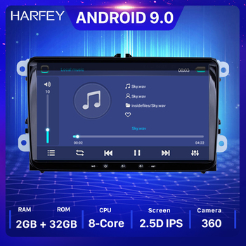Harfey Android 9.0 Car Multimedia Player GPS Navi For Skoda/Seat/Volkswagen/VW/Passat b7/POLO/GOLF 5 6 Car 2 din IPS Auto Radio image