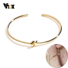 Vnox Candid Style Knot Bangle for Women Gold Tone Stainless Steel Trendy Tie Cuff Bracelets BFF Sister Pulseira Wedding Jewelry
