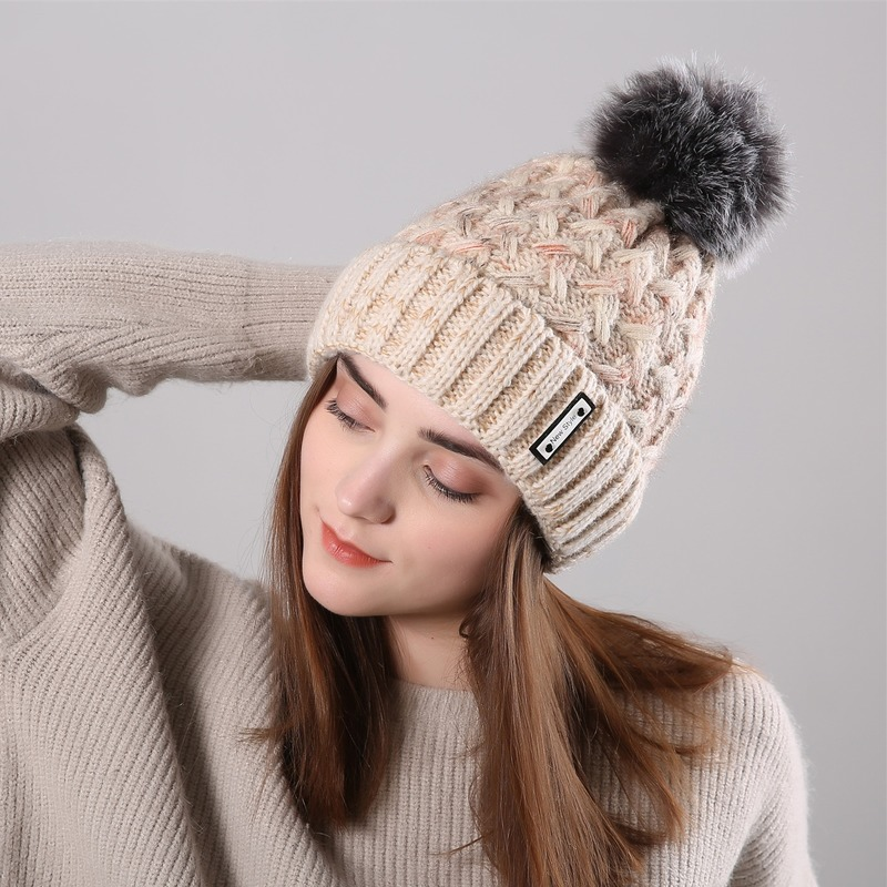 Sparsil Women New Velvet Warm Beanies Hat Curling Hair Ball Fashion Knitted Wool Fleece Caps Female Mixed Color Soft Caps Ladies