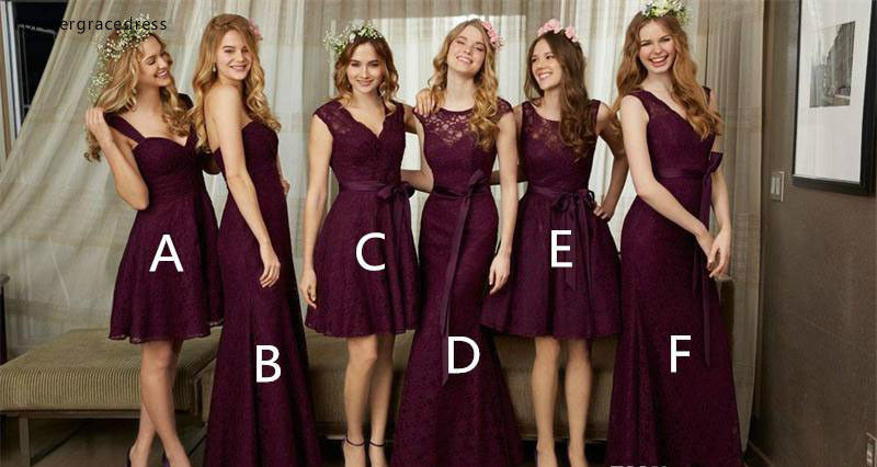 2019 High Quality Burgundy Lace   Bridesmaid     Dress   Garden Country Formal Wedding Party Guest Maid of Honor Gown Plus Size