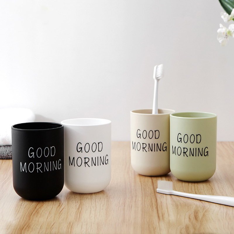 Good Morning Creative Contracted Plastic Wash Gargle Cup Upset Couples Cup Household Brush Your Teeth