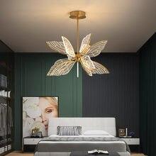 Современная светодиодная Подвесная лампа в виде бабочки для