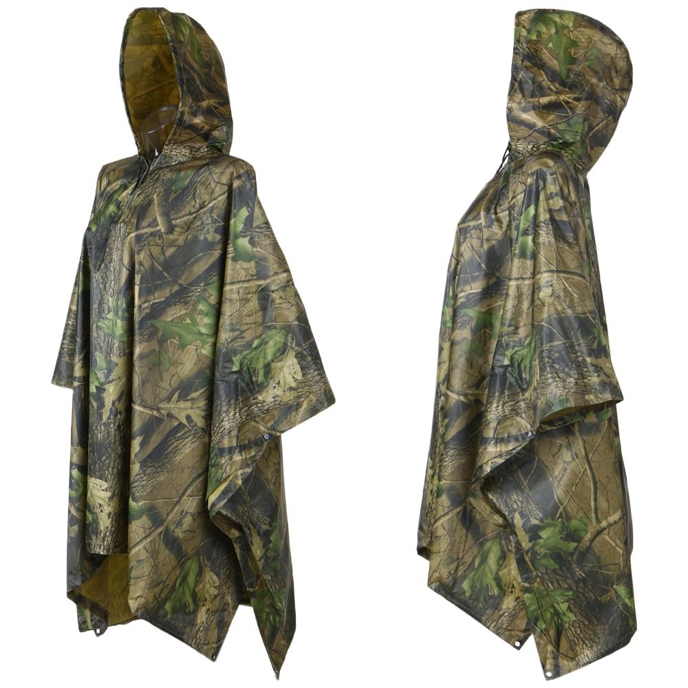 3 in1 Waterproof Hooded Raincoat Cloth Long Rain Coat Poncho Camping Shelter·Mat