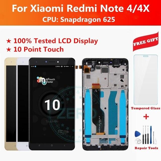 اختبار شاشة LCD + الإطار ل شاومي Redmi نوت 4 النسخة العالمية شاشة تعمل باللمس LCD محول الأرقام Redmi نوت 4 أنف العجل 625 أجزاء