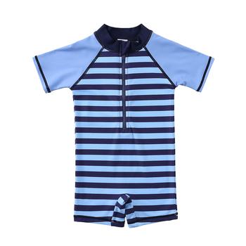 Wishere jednoczęściowy strój kąpielowy w paski stroje kąpielowe Baby Boy UPF strój kąpielowy UV ochrona przed słońcem kostium plażowy tanie i dobre opinie CN (pochodzenie) Pasuje prawda na wymiar weź swój normalny rozmiar Chłopcy NYLON B3S029-TIAOWEN Elastane+Nylon Swim