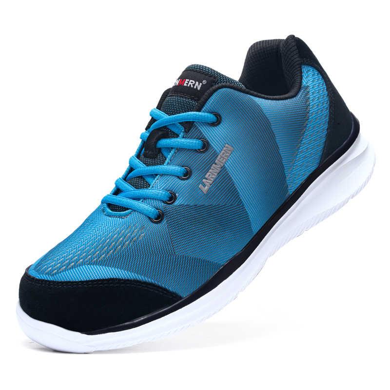 LARNMERN erkekler güvenlik çelik ayak iş ayakkabısı nefes hafif rahat inşaat sanayi S3 ayakkabı