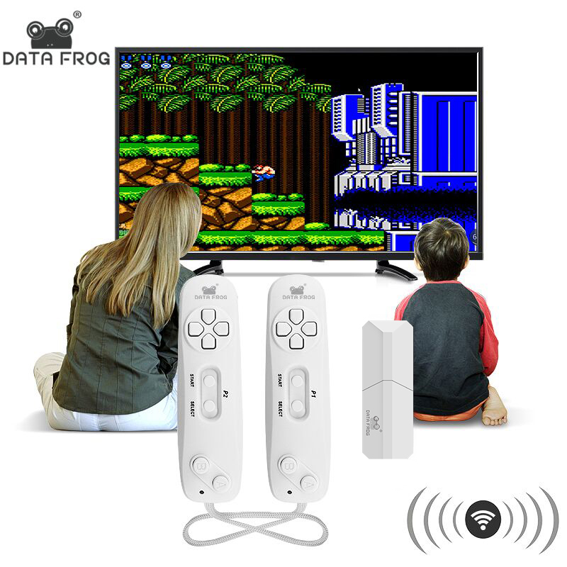 DATA FROG Wireless Handheld Game Player Build In 620 Classic 8 Bit Games Support TV OutPut Game Console With Dual Gamepad(China)