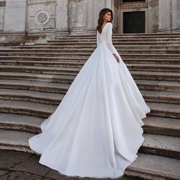MYYBLE-vestido de boda marfil, vestidos de novia de satín, elegante vestido de...