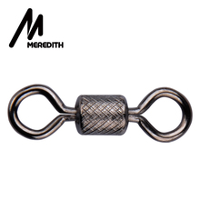 MEREDITH 50pcs Stainless Steel Rolling Swivels YH Fishing Swivel Size 2/0#~14# Fishing Accessories Sea Fishing Hook Connector
