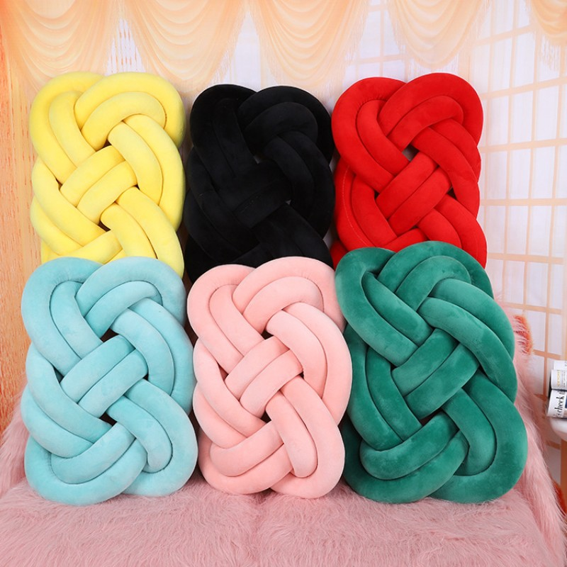 Long Knotted Braid Baby Pillow Knot Crib Infant Room Decor Newborn Baby Bed Cushions Crib Knotted Pillows