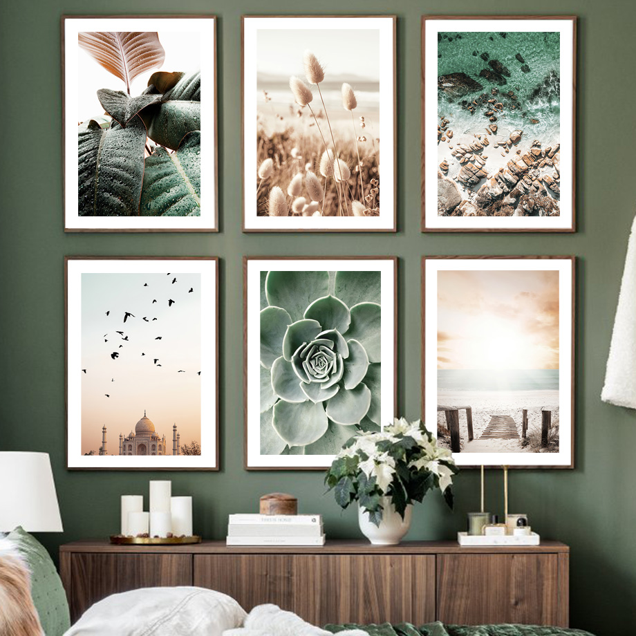 Taj Mahal Sunset Beach Grass Walkway Wave Cactus Nordic Poster Wall Art Prints Canvas Painting Decor Pictures For Living Room