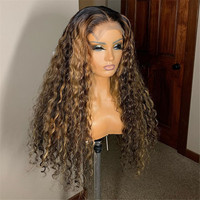 Highlights Color Human Hair Wig with Baby Hair Ombre Blonde Lace Front Wigs Pre Plucked Glueless 13x4 Lace Wig For Women