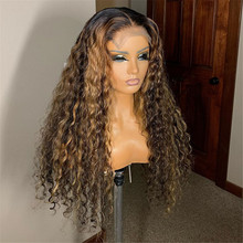 Highlights Color Human Hair Wig with Baby Hair Ombre Blonde