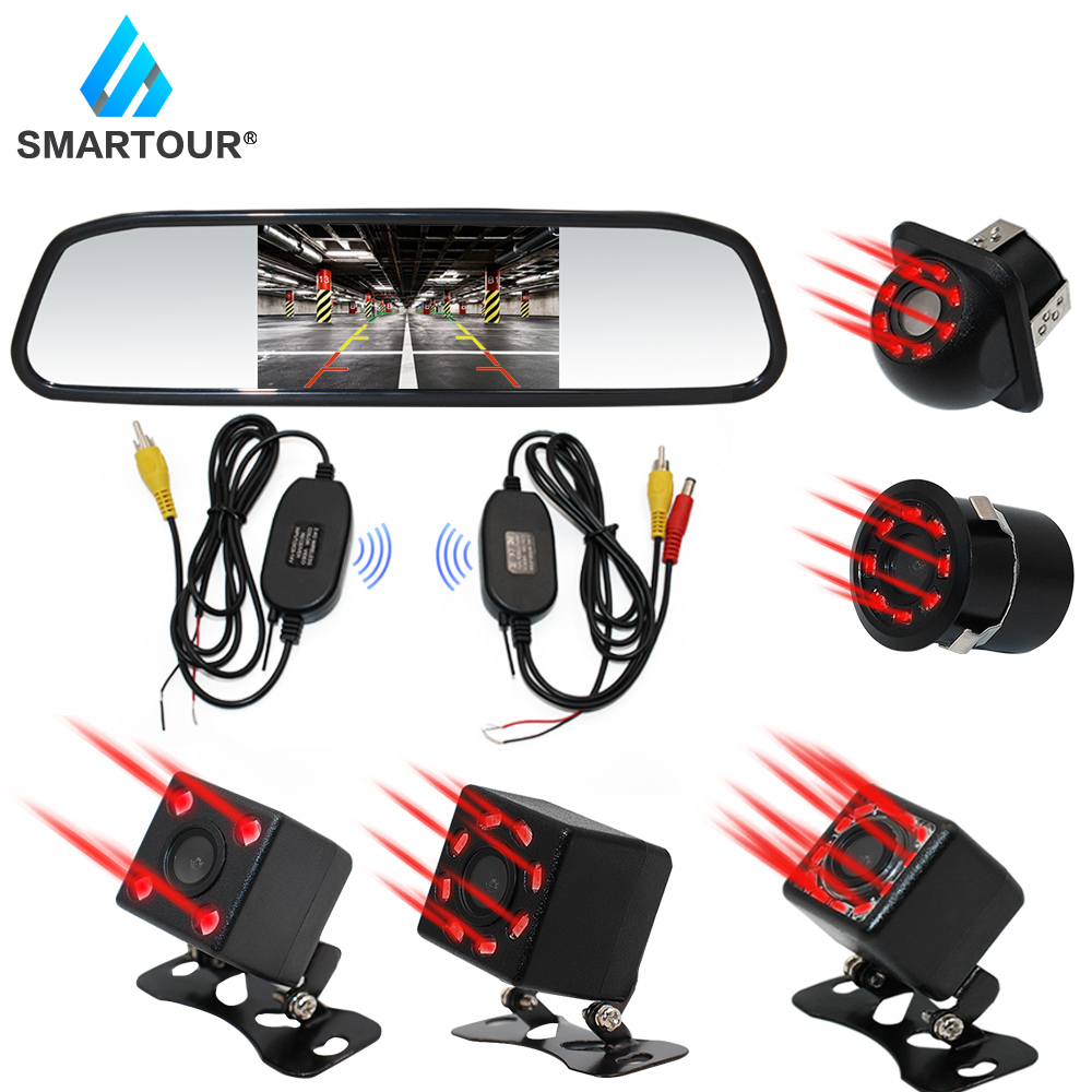 Smartour Car Video Auto Parking Monitor Night Vision Reversing Rear View Camera With 4.3 Inch Wireless Rearview Mirror Monitor