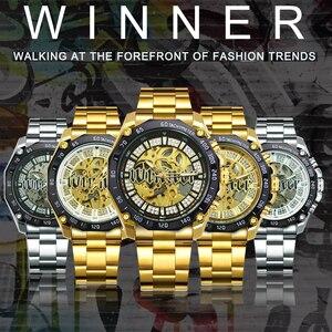 Image 2 - Kazanan resmi HIP HOP altın otomatik İzle erkekler elmas buzlu Out İskelet mekanik saatler marka lüks Punk kol saatleri