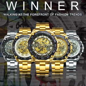 Image 2 - WINNER Official HIP HOP Golden Automatic Watch Men Diamond Iced Out Skeleton Mechanical Watches Brand Luxury Punk Wristwatches