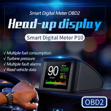 Dtong P10 Car OBD2 Head Up Display Digital velocímetro fuelconsumo voltaje temperatura kilometraje parabrisas proyector