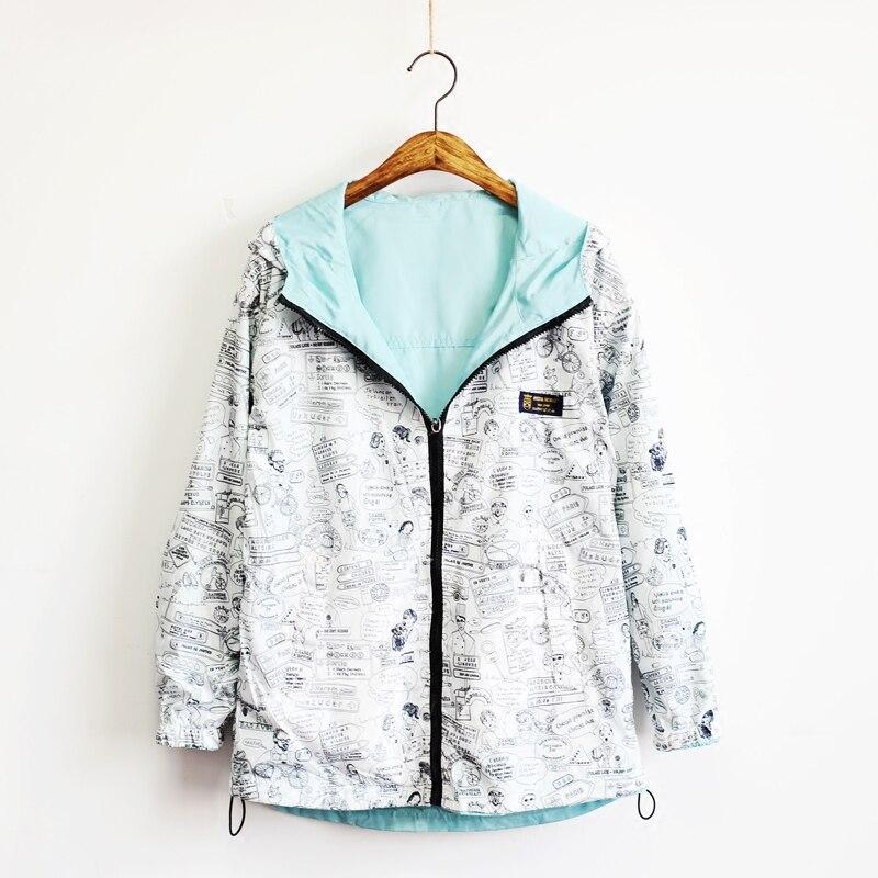 Women Two Side Wear Windbreaker Jackets Spring Autumn Hooded Zipper Loose Cartoon Print Outwear Female Coat