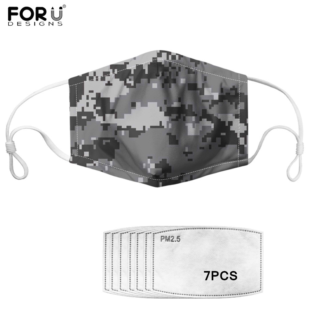 Mosaic Camouflage Print Face Masks For Kids Adult 7pcs/lot Carbon Filter Anti-Haze Mouth-muffle  Army Camo Mouth-muffle Outdoor