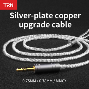 Image 1 - TRN earphone silver plated upgrade cable 0.75\0.78\mmcx PIN For V80 V20 V10 AS10 IE80 V30 T2 T3 ZST V90 V30 ES4